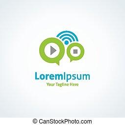 Music radio web button playlist vector logo icon