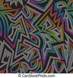 Music rainbow geometric seamless pattern