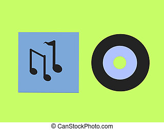 Music Record And Notes - Music notes and a records on a...