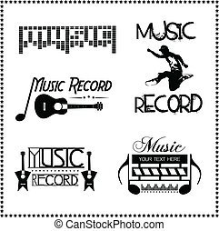 Music Record Labels, Vector illustration