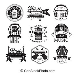 Music Record Studio Black And White Emblems