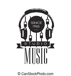 Music Record Studio Black And White Logo Template With Sound...