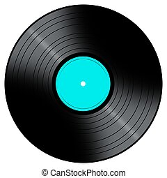 Vinyl Record with a color center on a white background.