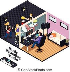 Music Recording Studio Isometric Composition