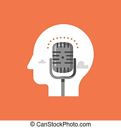 Music recording studio, podcast concept, broadcast radio show, comedy club microphone