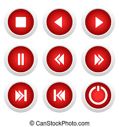 Music red buttons set