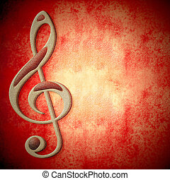 music red card copy space - musical symbol on metal, red...