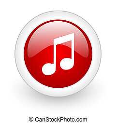 music red circle glossy web icon on white background
