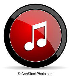 music red circle glossy web icon on white background - set440