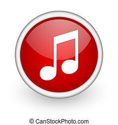 music red circle web icon on white background