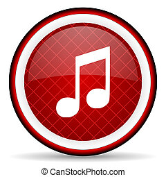 music red glossy icon on white background