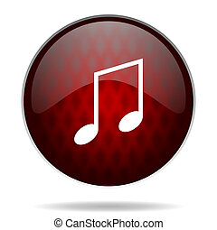 music red glossy web icon on white background
