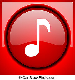 music red icon plastic glossy button