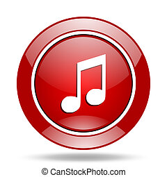 music red web glossy round icon