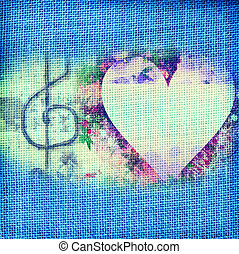 music Romantic card,heart and treble clef - background music...
