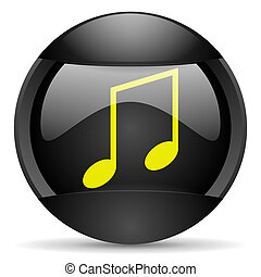 music round black web icon on white background