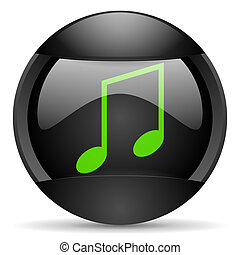 music round black web icon on white background