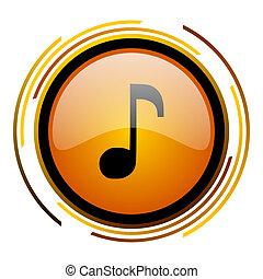 music round design orange glossy web icon