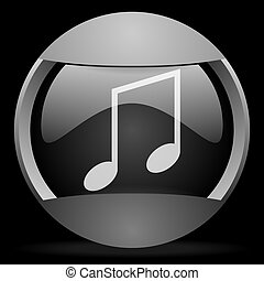 music round gray web icon on black background