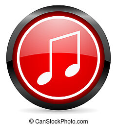 music round red glossy icon on white background