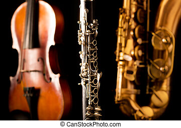 Music Sax tenor saxophone violin and clarinet in black