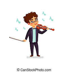 Music school. Violinist. Boy character playing violin. Children with musical instruments. Vector flat cartoon illustration with grain texture on white background.