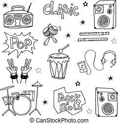 Music set doodles vector illustration