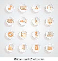 Music  set   Icons button shadows  vector set