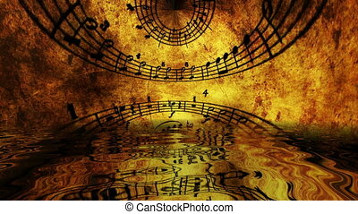 Music sheet reflected in water