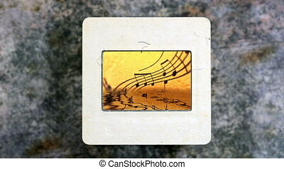 Music Sheet Reflecting In Water on vintage slide film
