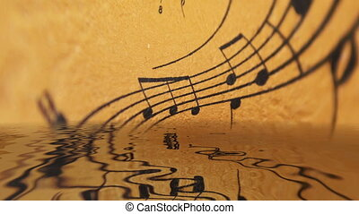 Music sheet reflecting in water