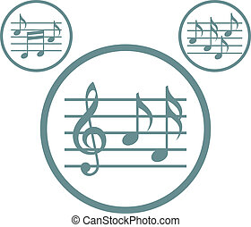 Music sheets with g key and notes vector icons set isolated.