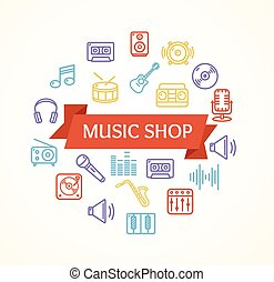Music Shop Concept. Vector