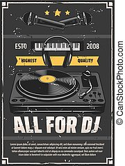 Music shop DJ studio equipment grunge poster