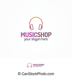 Music shop logo set with headphones flat color style