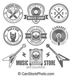 Music shop, recording studio, karaoke club labels