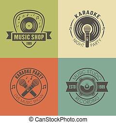 Music shop, recording studio, karaoke emblems