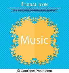 music sign icon. Karaoke symbol. Floral flat design on a blue abstract background with place for your text. Vector