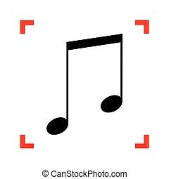 Music sign illustration. Black icon in focus corners on white ba