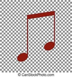 Music sign illustration. Maroon icon on transparent background.