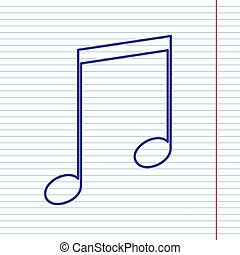 Music sign illustration. Vector. Navy line icon on notebook paper as background with red line for field.