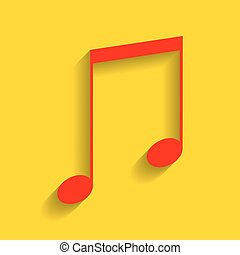 Music sign illustration. Vector. Red icon with soft shadow on golden background.