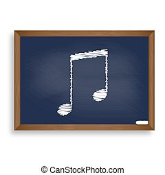 Music sign illustration. White chalk icon on blue school board with shadow as background. Isolated.