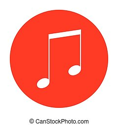 Music sign illustration. White icon on red circle.