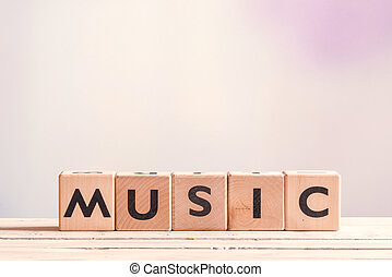 Music sign on a wooden table