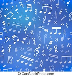 Music signs and note on blue blurred background