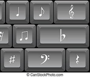 Music signs and notes on a PC keyboard - illustration