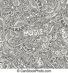 Music Sketchy Doodles. Hand-Drawn Vector Illustration