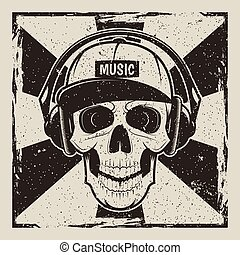 Music skull vector vintage grunge design