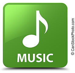 Music soft green square button